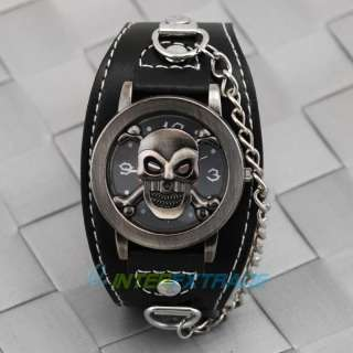 Rock Punk Skull Skeleton Men Lady Leather Band Bangle Cuff Quarz Watch