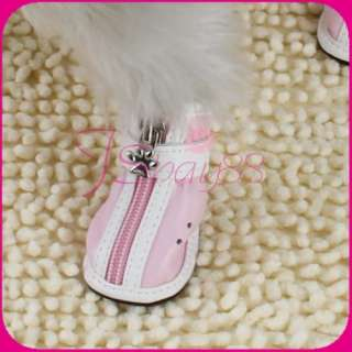 Pet Dog Boots Set of 4 Pink Leather Cozy Shoes NEW 2#