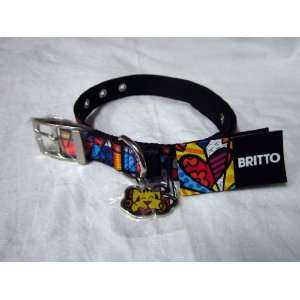 Romero Britto Large Nylon Dog Collar w/Metal Charm (Black