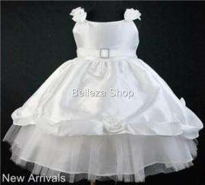 White Flower Girls Party Pageant Dress SZ 9mo 12mo DW13