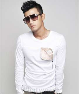 Mens Zip Pocket Slim Long Sleeve T shirt Tops White W18