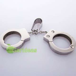Mens Stainless Steel Silver Love Handcuff Crystal Chain Pendant
