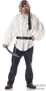 Mens Renaissance Musketeer Pirate Shirt Costume W/belt