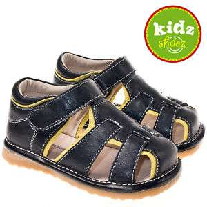 Boys Toddler Leather Squeaky Shoes Sandals Black Yellow