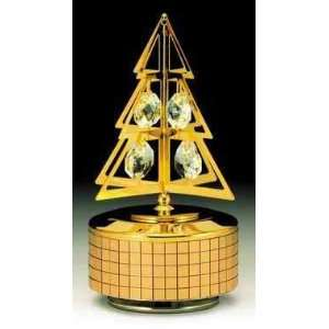 Christmas Tree Gold Plated Swarovski Crystal Music Box