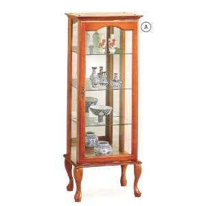 Oak finish wood curio cabinet with glass shelves and doors