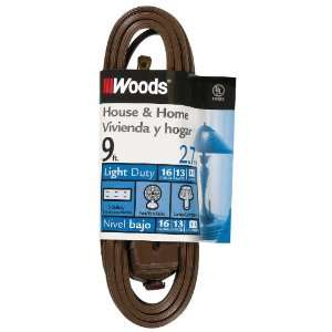 Woods 601 9 Foot Cube Extension Cord with Power Tap, Brown