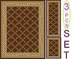 NON SKID 3 Piece SET TRELLIS BROWN AREA RUG SET (5 x 7) (2 x 6) (2x4