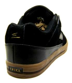 TRIKA BLACK GUM SKATEBOARD SKATE SHOES MENS CASUAL NEW