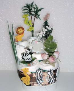 JUNGLE SAFARI BABY SHOWER MINI DIAPER CAKES CENTERPIECE