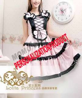 Sweet Gothic Lolita Saloon girl black Lace cute Ball Gown Pink Cotton