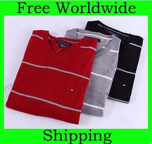 NEW TOMMY HILFIGER MENS CLASSIC STRIPED V NECK SWEATER