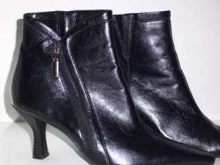 Boot Heels Womens Size 7 7M Black Leather Dress Square Toed