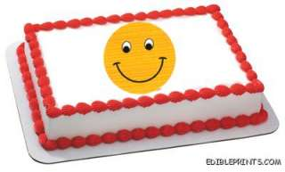 Smiley Face Edible Image Icing Cake Topper