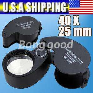 LED 40X Eye Jeweller Magnifying Glass Magnifier Loupe