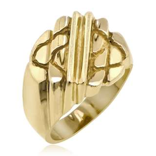 MENS 14K SOLID YELLOW GOLD WIDE NUGGET RING BAND