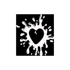 HRT (413) 6 white vinyl decal splattered design heart die