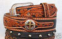 Genuine Leather Western Mens Belt Saddle Tan Black