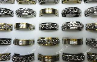 wholesale jewelry mixed lots 30pcs fashion stainless steel rings free