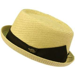 Mens Light Cool Summer Spring Pork Pie Fedora Upturn Brim Hat Natural
