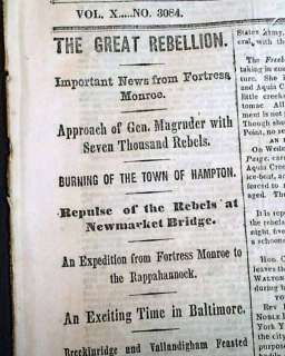1861 Civil War Newspaper BURNING OF HAMPTON VA Battle of Dug Springs