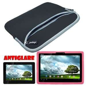 Screen Protector + Pink Silicone Skin Case + Black 10.2 Inch Laptop