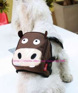 Cute Brown Cattle & Green Frog Dog Bag Dog Backpack Carrier Harness