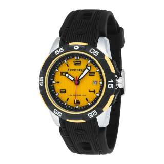 Classic Round Field Case Analog Mens Watch Black/Yellow FS90837