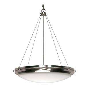 Glomar Polaris 3 Light Hanging Brushed Nickel Pendant with White Shade