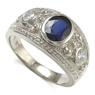 MENS 14K WHITE GOLD GENUINE SAPPHIRE & DIAMOND RING Sizes 7 to 13