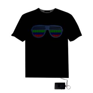 Sound Activated Hip Hop Glasses Pattern EL LED T Shirt5