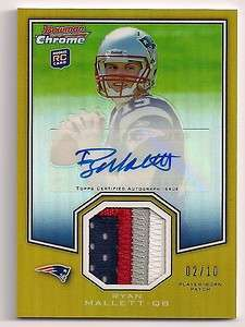 2011 BOWMAN CHROME RYAN MALLETT AUTOGRAPH 4  COLOR JERSEY PATCH ROOKIE