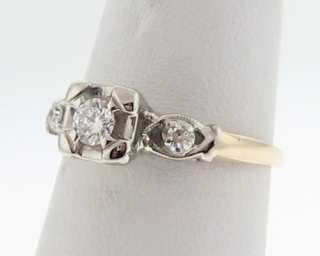 Estate Diamonds Solid 14k Two Tone Gold Wedding Ring