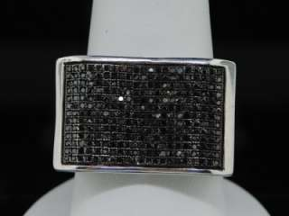 MENS WHITE GOLD FINISH 0.83 CT BLACK DIAMOND PINKY RING