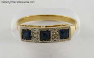 Antique Art Deco 18k Gold Diamonds Sapphires Ring