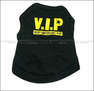 Cute Pet Dog Clothes Vest T Shirt Type Size L M XS BLK