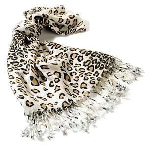 IMAN Global Chic Luxurious Leopard Print Fringe Scarf