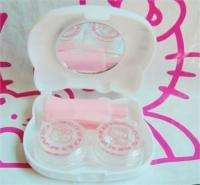 Cute Hello kitty Contact Lens Box Case Set with Mirror White free p&p