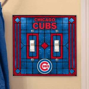 Chicago Cubs   MLB Art Glass Double Switch Plate Cover