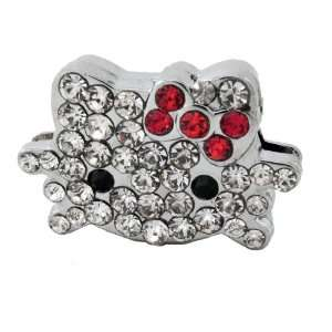 com 12x DIY Jewelry Making 3D Hello Kitty Rhinestone Charm   Red Bow