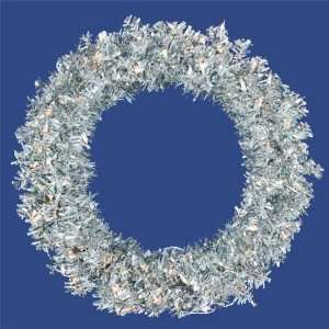 30 Pre Lit Silver Wide Cut Tinsel Artificial Christmas Wreath   Clear