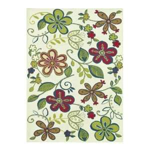 Feet 2 Inch by 7 Feet 5 Inch Area Rug, Ivory/Floral
