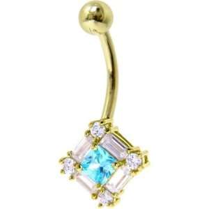 Solid 14kt Yellow Gold Cz Gem Aqua Surround Belly Ring Jewelry