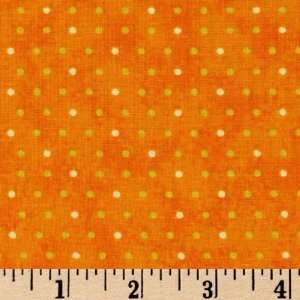 45 Wide Feline Friendship Dots Orange Fabric By The Yard
