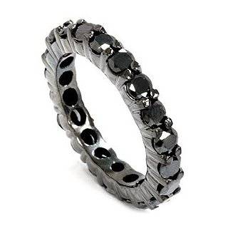 14k White Gold BLACK Diamond Eternity Band Ring   1.00