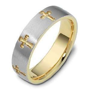 Two Tone Gold Religious Multi Texture Cross Wedding Band Ring   10.5