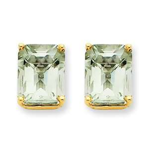 14k Yellow Gold 10x8 Emerald Green Amethyst Earring Jewelry