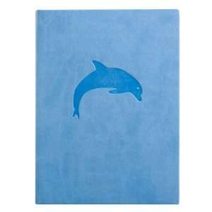 Blue Embossed Dolphin Leather Journal   Lined 5x7 Arts