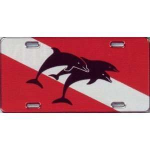 New Scuba Diving Aluminum License Plate   3 Dolphins on