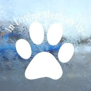 In Loving Memory Dog Paw White Decal Laptop Window White